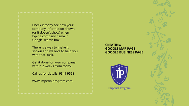 Google business page Singapore